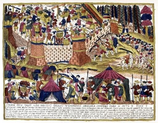 The Granger Collection, NYC   В една ранна битка за Киев нашествениците номади обсаждат града. 968 година.