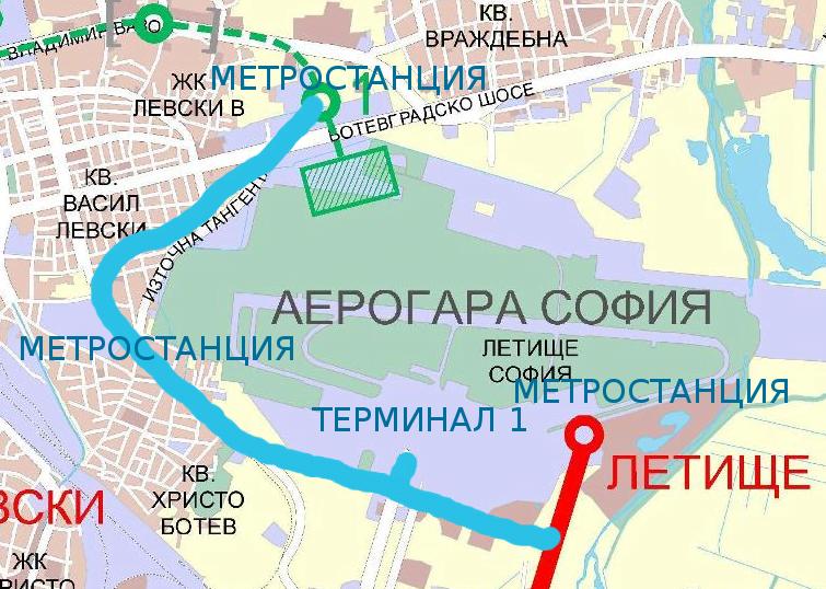 Възможна връзка между третата и първата линия на метрото. Източник: Wikipedia. Обработка: Светла Енчева.