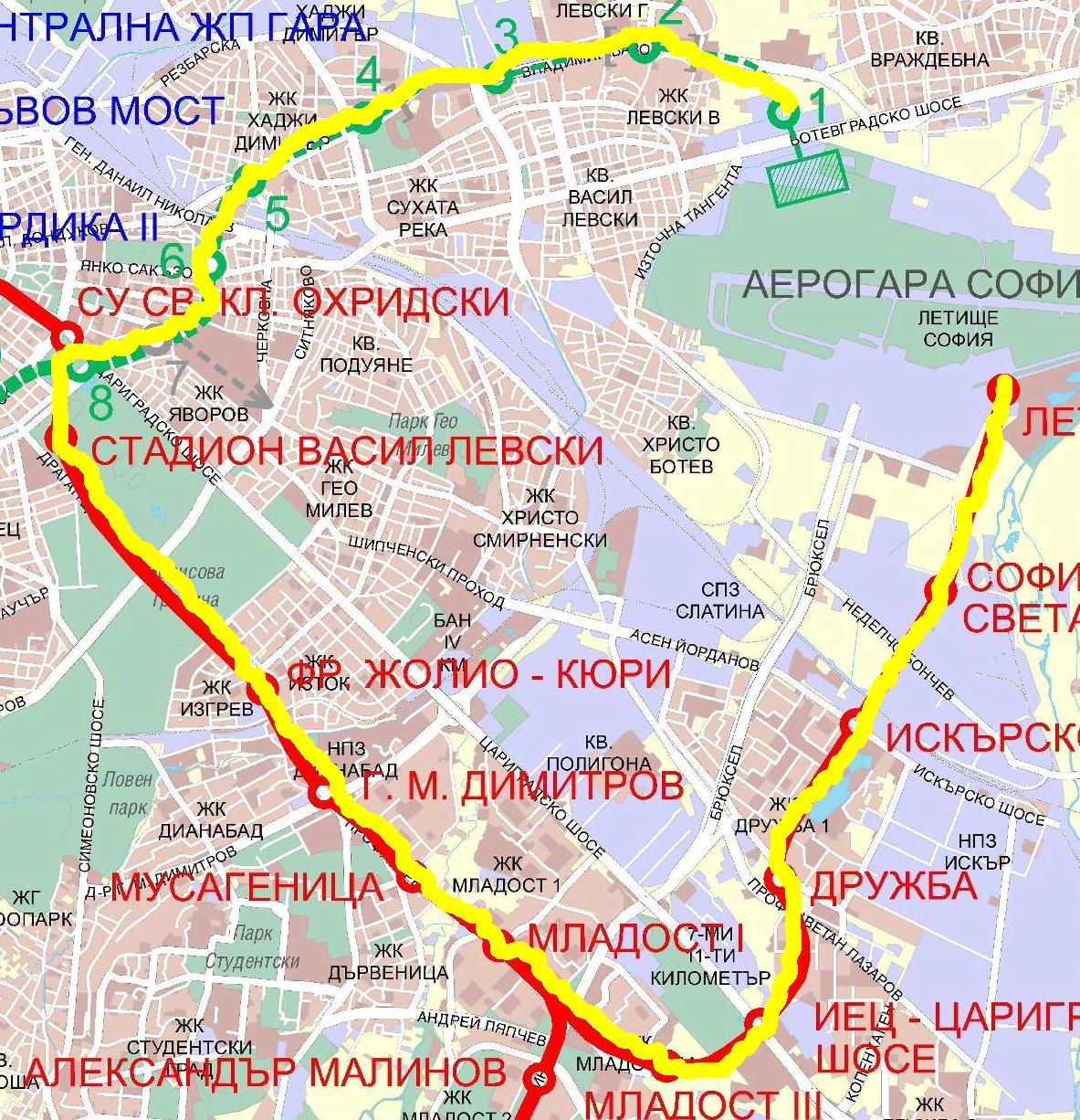 """Метрото от кв. """"Левски"""" до летището. Схема на софийското метро. Изтончик: Wikipedia. Обработка: Светла Енчева."""